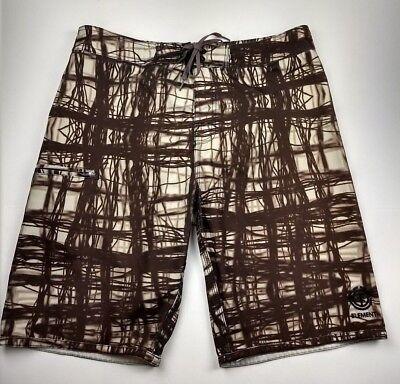 Element Mens Swim Trunks Board Shorts Size 32 Brown Multi Stripe Pocket Unlined ()