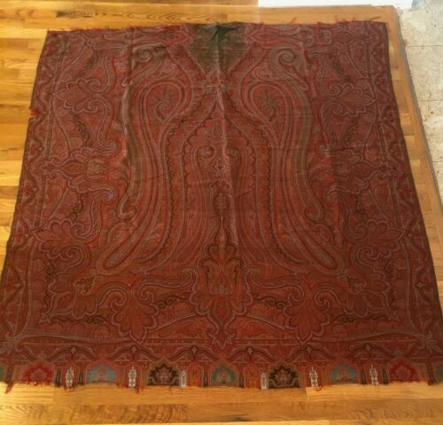 "Antique c. 1860-70 wool Kashmir paisley shawl fabric (L 63"" x W 58"")"