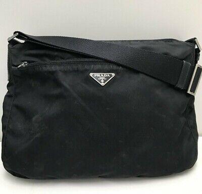 Authentic Vintage Prada black nylon tessuto leather crossbody shoulder bag card