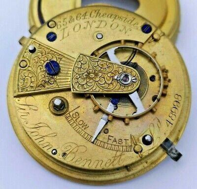 Sir John Bennett London Fusee Pocket Watch Movement - Ticking (H82)