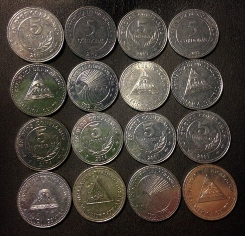 Old Nicaragua Coin Lot - 16 Excellent Large 5 Cordoba Coins - FREE SHIPPING