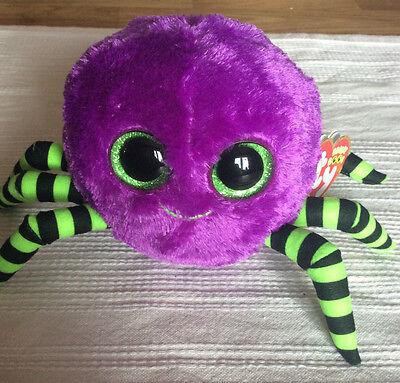 W-F-L TY Boos Crawly Spinne Lila Halloween 15 cm  Glubschi Glitzeraugen