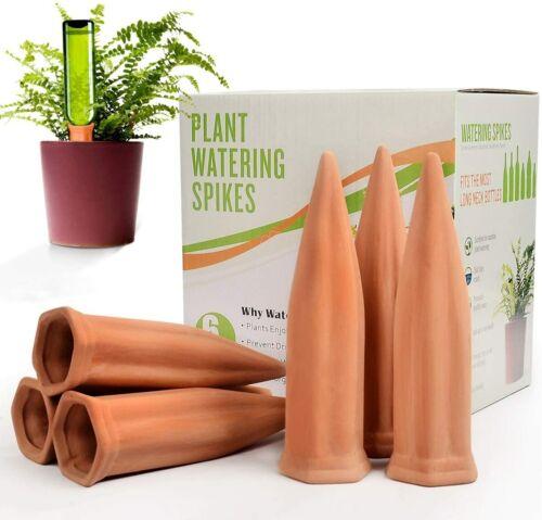 Ceramic Plant Waterer Set of 6 Pack Terracotta Self Watering Spikes,Wine Bottle