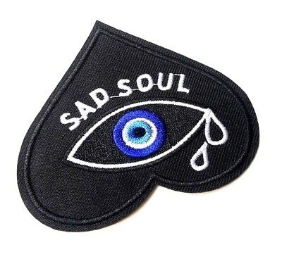 Sad Soul Crying Eye Broken Heart Iron-On/Sew-On Embroidered Patch, Emo Punk