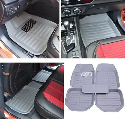 Gray 5pcs Set Front Rear Universal Floor Mats Fits Car SUV Carpet  All Weather