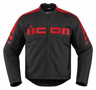 ICON MOTORHEAD 2 Leather Motorcycle Jacket (Black/Red) M (Medium)
