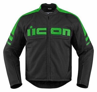ICON MOTORHEAD 2 Leather Motorcycle Jacket (Black/Green) M (Medium)