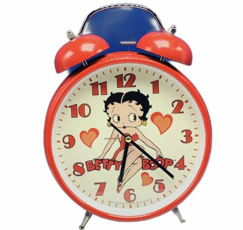 "Betty Boop alarm table clock red king feature vtg Working 11"" Large Big Pudgy"