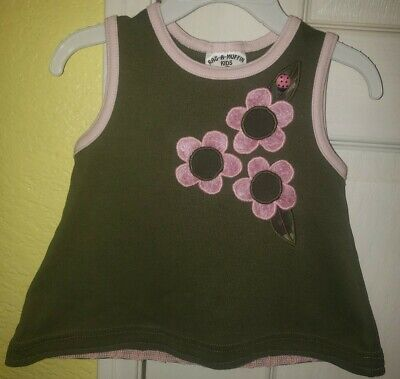 Rag A Muffin Kids SL Toddler Olive Top With Pink Velvet Flowers/Ladybug Sz 12Mos