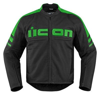 ICON MOTORHEAD 2 Leather Motorcycle Jacket (Black/Green) Choose Size