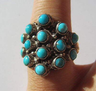 Ring Vintage Indian Flower Silver and Turquoise India Size 57-58