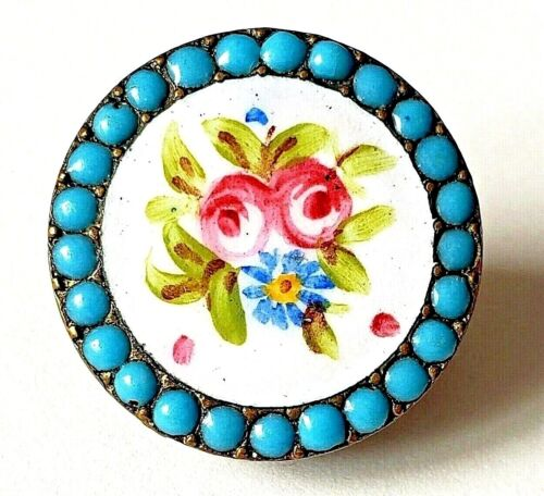 Antique Enamel Stud Button…Pink Roses with Blue Pierreries