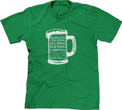 Irish Toast Cheating Stealing Fighting Drinking St Patricks Day Slainte Mens Tee Irish Drinking Toasts