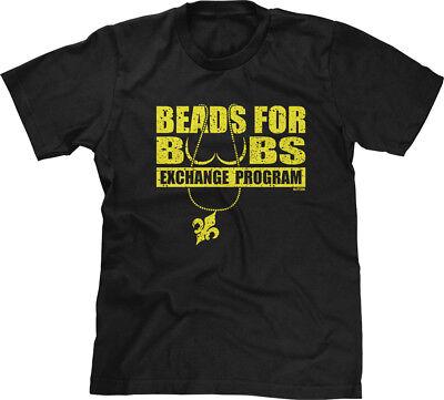 Beads For Boobs Exchange Program Mardi Gras New Orleans Nola Funny Joke Mens Tee