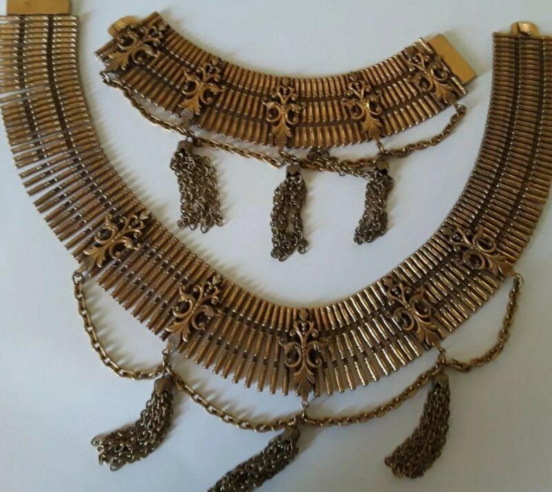 Vtg Etruscan Revival Collar Necklace & Bracelet Set Gold Tone Dangle Pendants~