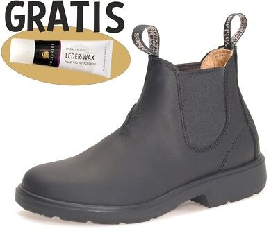 Yabbies Boots Leder Schuhe für Kinder Stiefelette - Black / Schwarz + Lederwax
