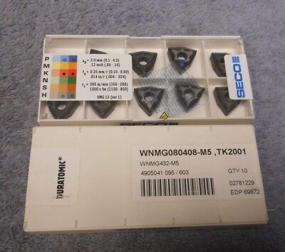 Seco  Carbide Inserts  Wnmg 432 -m5 Grade Tk2001  Sealed Pack Of 10