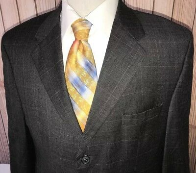Lauren Ralph Lauren Blazer Sport Jacket Gray Brown Plaid Sz 43R Wool Cashmere