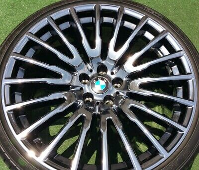 4 OEM FACTORY BMW 740i 750i Individual Black Chrome 629 21 inch WHEELS TIRES G11