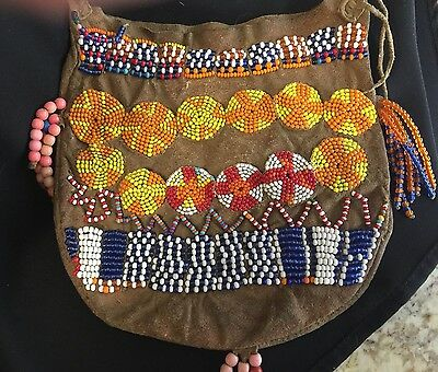 Old Native American Indian Beaded pouch bag Leather Hide
