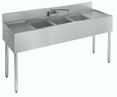 Krowne Metal 21-63c 3 Compartment Bar Sink 21d W Two 18 Drainboards Nsf