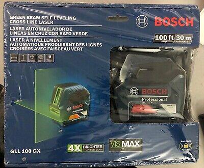 NEW SEALED Bosch GLL100GX Self-Leveling Cross-Line Laser Level 100' Green Beam