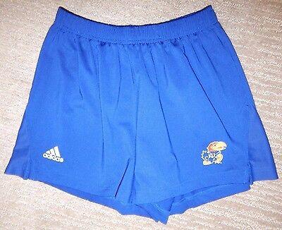 (adidas KANSAS JAYHAWKS Blue Polyester Athletic / Running Shorts Women's Medium)