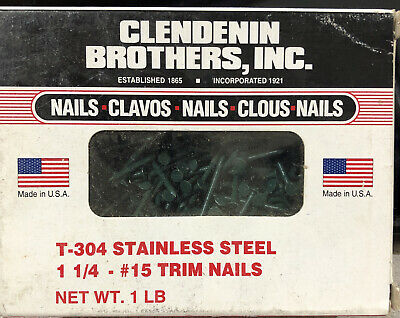 T 304 1lb Box 1-14 Stainless Steel 15 Trim Nails Clendenin Forest Green