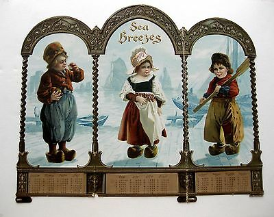 Early 1900's Stand Up Display Calendar w/ Dutch Children Images Vertical -