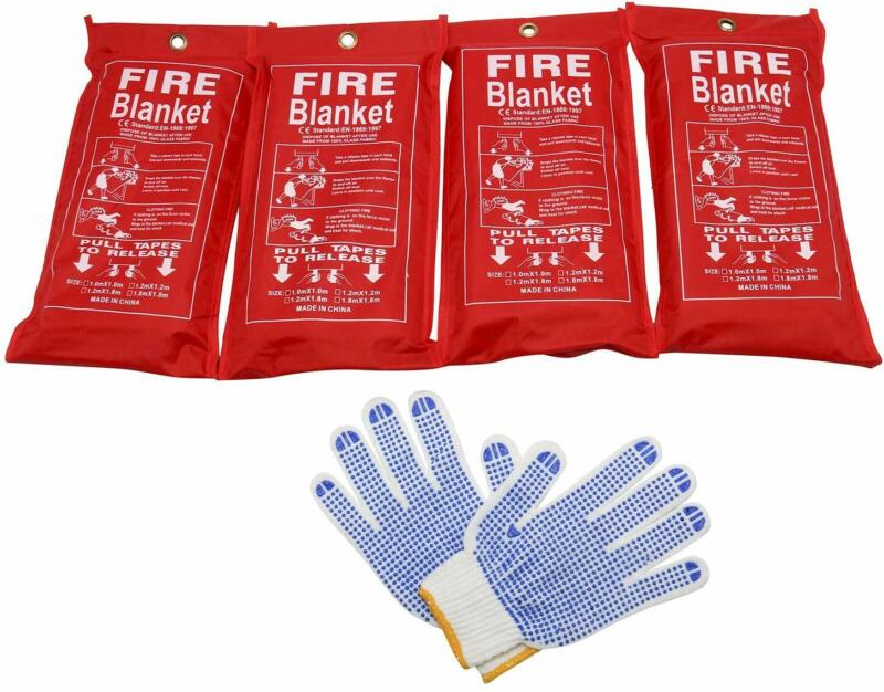 4 Pack Fire Blanket Emergency Flame Retardent Shelter Safety Cover+1 Free Gloves