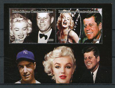Central African Rep 2017 CTO Marilyn Monroe John F Kennedy JFK 2v M/S Stamps