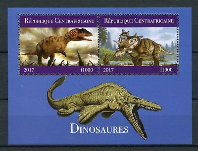 Central African Republic 2017 CTO Dinosaurs 2v M/S II Triceratops Stamps