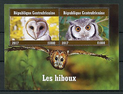 Central African Rep 2017 CTO Owls 2v M/S I Barn Owl Birds Stamps