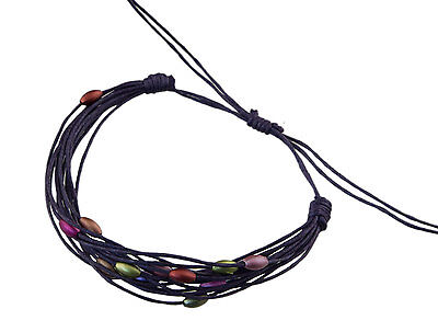 Bracelet multi fils violet perles pastel tous poignets-Line bresilien Wrap 931 (Tous Armband Perle)