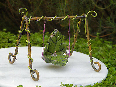Miniature Dollhouse FAIRY GARDEN Furniture ~ Fairytale Leaf Swing ~ NEW for sale  Shipping to Canada
