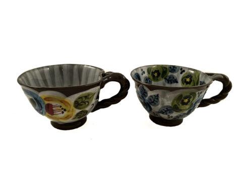 Set of 2 ANTHROPOLOGIE Elka Ayaka Twist Handle Pedestal Footed Tea Cups