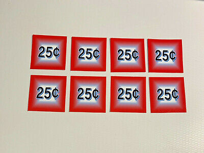 8 Bulk Vending Label Candy Machine Price Sticker 25 Cent
