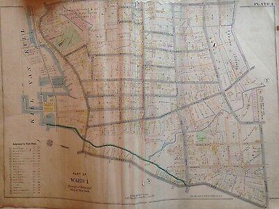 1898 STATEN ISLAND NEW BRIGHTON E. ROBINNSON ORIGINAL ATLAS MAP 22X32