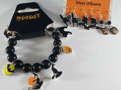 SPIRIT Halloween Black Cat Witch Stretch Bracelet Pairs of Earrings Dangle 🎃
