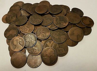 116 Victoria bun head pennies (dates in description) 1860-1894