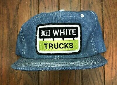 Vintage White Trucks Denim Trucker Hat Snapback Hat USA Made K Brand