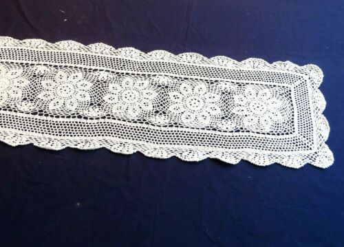"Vintage Cotton Crochet Lace Table Runner Dresser Scarf 14x64"" Rectangle"