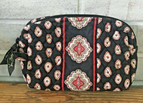 Vera Bradley CLASSIC BLACK PAISLEY Lined Zippered Make Up Cosmetic Bag Case USA