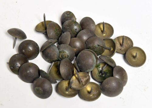 35 LARGE VINTAGE BRASS UPOLSTREY TACKS 3/4 INCH