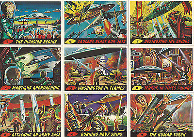MARS ATTACKS 1994 ARCHIVES #1-55 BASE SET+ #0 CARD 2 WRAPPERS HIGH GLOSS!