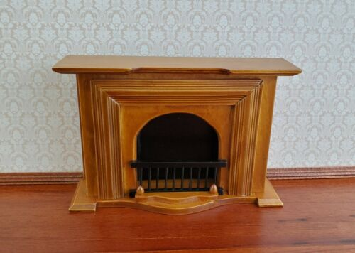 Dollhouse Miniature Fireplace Large Walnut Finish 1:12 Scale Furniture