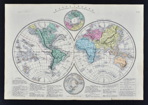 1885 Drioux Map - World in Hemispheres - North & South Pole America Europe Asia