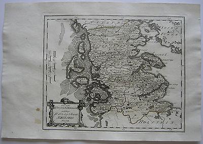 Herzogthum Schleswig vormals Dänemark Kolor Kupferstich Karte Reilly 1791