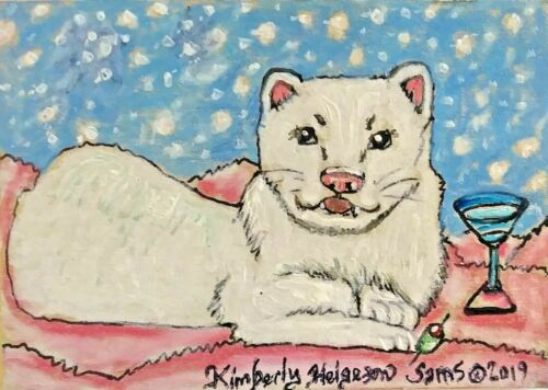 Ferret Collectible 4x6 Art Print Snowball Martini Signed by Artist KSams Vintage