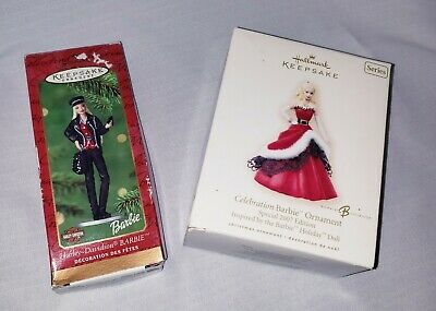 HALLMARK Keepsake Celebration Barbie 2000 and 2007 Ed Holiday Christmas Ornament